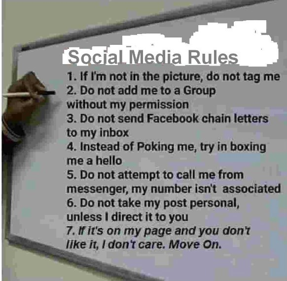 Rules for my Facebook, and all my social media posts and pages. Photo Credit: Facebook.com